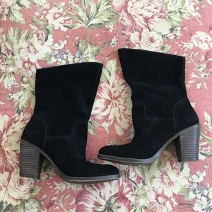 Lucky Brand black leather suede boots NEW